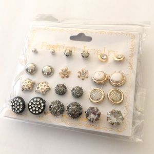 Jewelry - 2/$10 NWT 12 pair earring set